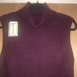 Divine Heart Sweaters - Hi -Low Sleeveless Turtleneck Sweater